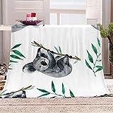 LIGAHUI Manta Polar con Flecos de Pompones Koala Animal Plaid Manta de Franela para el sofá Cama Apta para Todas Las Estaciones 70x100 cm