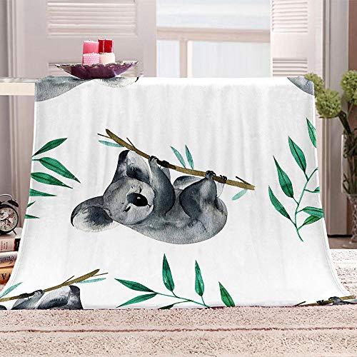 LHUTY Manta de Franela Koala Animal 150x200 cm 3D impresión Manta Polar Microfibra Suave Acogedora Manta, para Adultos y Niños sofá Cama Decorativo Picnic Viajar Manta