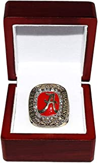 UNIVERSITY OF ALABAMA CRIMSON TIDE (Coach Nick Saban) 2016 SEC NATIONAL CHAMPIONS (3 In A Row) Rare Collectible High-Quality Replica College Football Gold Championship Ring with Cherrywood Display Box