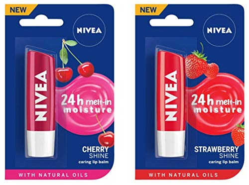 NIVEA Lip Balm, Fruity Cherry Shine, 4.8g And NIVEA Lip Balm, Fruity Strawberry Shine, 4.8g