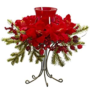 Nearly Natural 4927 Amaryllis Candelabrum, Red
