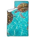 Riviera Maya Turtles Photomount On Caribbean Saco de dormir de viaje para niños pequeños Estera para niños pequeños con diseño de manta y almohada enrollable Ideal para preescolares Guarderías para
