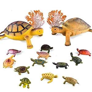 BESTZY Tortuga Juguetes 14 Piezas Juguetes de Plástico en Duraderos Modelo de la Tortuga Juguetes para Niños Juguete Interesantei.