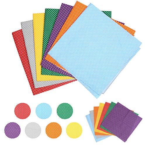 LAITER 14 Pcs Tela de algodón Telas de Cupones de Retazos en Color Arcoíris para Coser Bricolaje 50 x 50/25 x 25 cm Tela de Costura Cuadrada para DIY
