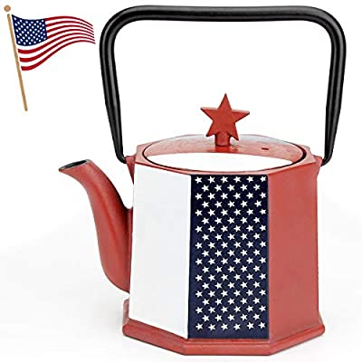 Tea Kettle, TOPTIER Tetsubin Cast Iron Teapot with Infuser for Loose Leaf and Tea Bags, Stovetop Safe Cast Iron Tea Kettle Coated with Enameled Interior for 30 oz, American Flag with Star