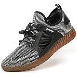 tqgold Zapatillas de Seguridad Verano para Hombre Mujer Zapatos Trabajo con Punta de Acero Gris 42