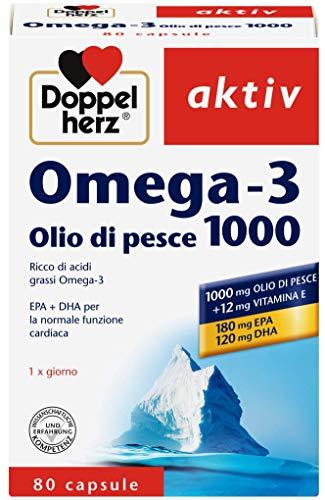 Omega 3 Olio di Pesce di mare 1000mg - 80 Capsule - Alto Dosaggio di Acidi grassi Omega3 EPA e DHA - Un' alimentazione sana per il nostro cuore