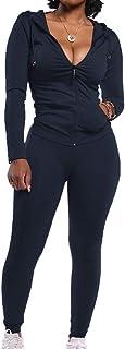 Weiliru Womens 2 Piece Solid High Waist Sports Yoga Pants Shirts Set Pockets Tummy Control Workout Ruuning Tracksuit