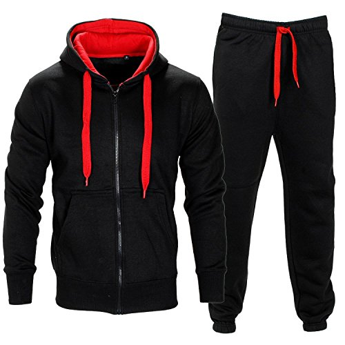 Parsa Fashions Mens Tracksuit Set Full Sleeve Fleece Zipper Hoodie Top Bottoms Jogging Joggers Gym CONTRAST And PLAIN Small to XX Large Medium Black Red