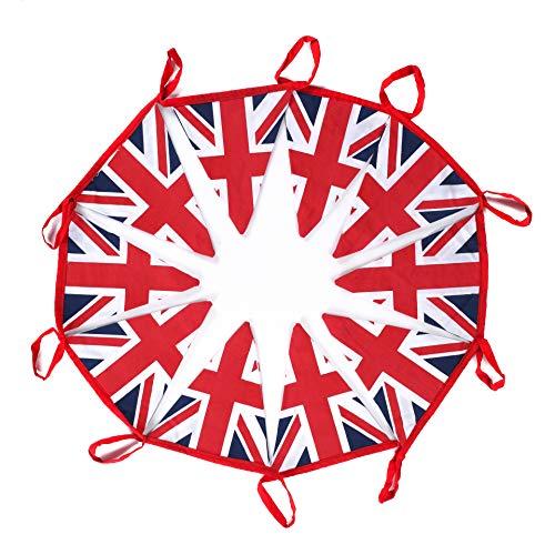 EHC - Banderines decorativos para fiestas (10 m, 100% algodón, 100% algodón, doble cara, diseño patriótico