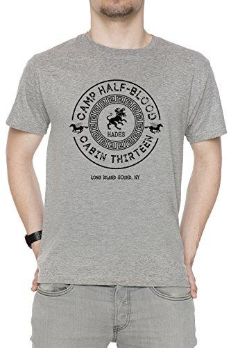 Cabin Thirteen - Hades - Percy Jackson - Camp Half-Blood Uomo Girocollo T-Shirt Grigio Maniche Corte Dimensioni S Men's Grey Small Size S