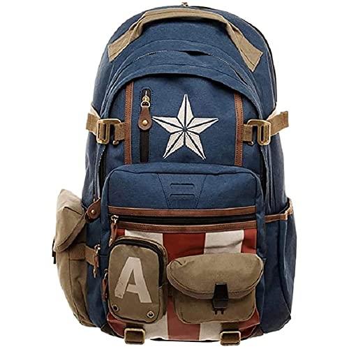 WXHJM Marvel Avengers Captain America Zaino,Captain America School Bag Thor Hulk per Scuola e Tempo Libero Sorpresa Zaino Borsa per Computer per Studenti di Moda Casual