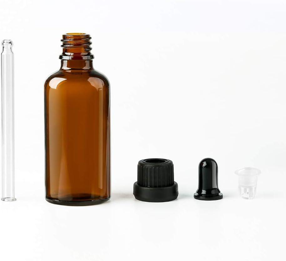 ambre autocollant pour huiles essentielles avec pipette en verre pour huiles essentielles entonnoir - FF-12 Lot de 6 flacons compte-gouttes en ambre Orange