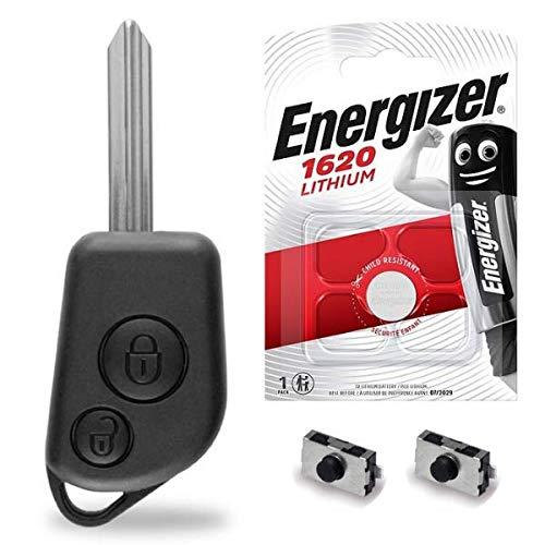 Boitier/Coque pour Télécommande Plip Clé Citroen Berlingo Saxo Xsara Picasso ✚ Pile CR1620 Energizer - Kit iRace Keys®