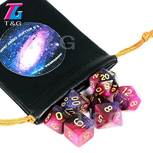 TGWCJDBB Dado de Juego estándar,Cosmic Galaxy Concept Dice 7 Piezas Juegos de rol Accesorios de Mesa Juego Andromeda Galaxy Temas Boardgame Dice