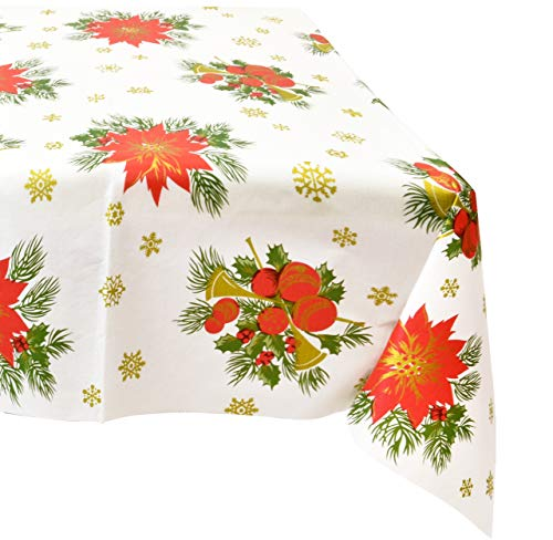6 Christmas Tablecloths Rectangle Vinyl Flannel Backed 54' X 108' Red Green Gold Plastic Table Cover Party Supplies Decoration for Holiday Buffet Picnic Tables Winter Poinsettia Festive Floral Print