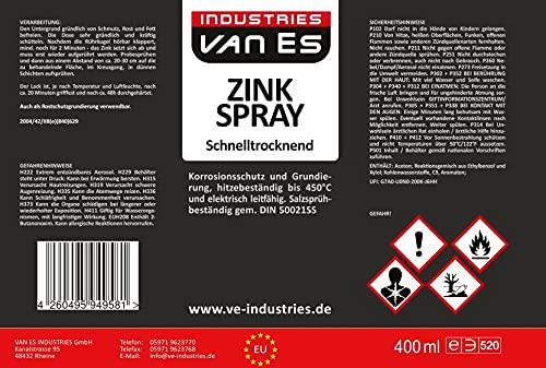 Zinkspray Spezial Grau 400ml / Rostschutz aus Zink hitzebeständig 450°C und eignet sich als Grundierung für Metall/Schnelltrocknend/Grau/Feuerverzinkung