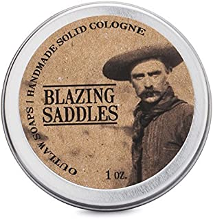 Blazing Saddles Solid Cologne – 性感的古龙香 – 28.35 克 – 西部皮革、枪粉、檀香和鼠尾草,装在口袋大小的锡中 – 男式或女式 Cologne