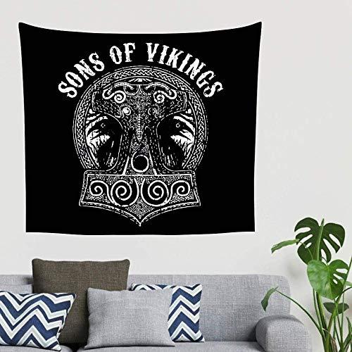 QIAO Hippie Vintage Sun of The Viking Hammer Raven Mitolog¨ªa n¨rdica Tapiz Tapiz Tapiz ¨¦tnico Decoraci¨n de la Pared Divisor de la habitaci¨n Cabecera Fondo pa?o 200x150cm