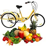 6 Speed Adult Tricycle with Basket Soft Seat Yellow 3 Wheel Adult Bike Women Men Tricycle for Shopping Exercise Outdoor Activities (Lights)