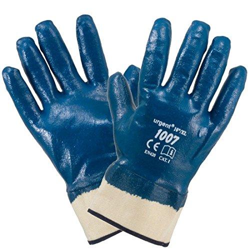 12 Paar Arbeitshandschuhe blau vollbeschichtet Nitril Baumwolle mit Stulpe Gr. 10 (1007)