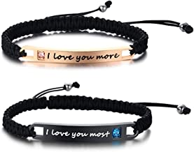 XUANPAI Custom Engraving Handmade Matching Couples Rope Braided ID Relationship Promise Bracelets Set Valentine's Day Personalized Gift for Couples Lover