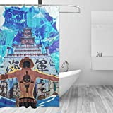 66toys Anime One Piece Portgas D. Ace Duschvorhang, 152,4 x 183,9 cm, Polyester, wasserdicht, Kunstdruck, Kunststoff