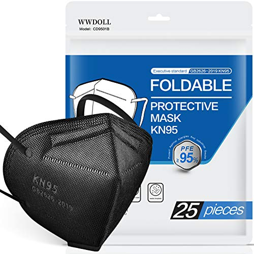 25 Pack KN95 Face Mask 5-Ply Protection Breathable Masks Cup Dust Mask, with Elastic Earloop and Nose Bridge Clip for Indoor, Outdoor Use (Black)