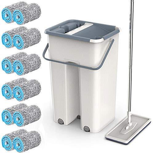 MAWA Use la fregona de Limpieza rápida del Piso del balde exprima la Herramienta de Limpieza de la casa de la fregona Plana para el Limpiador de Pisos de la Cocina del hogar - con 12 alfombras