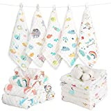 Caiery 10pcs Baby Washcloths Soft | Bamboo Cotton Baby Muslin Washcloth | Face Towels for Newborn with Sensitive Skin | Shower Gift for Baby Registry 12x 12 inch(30x30cm)