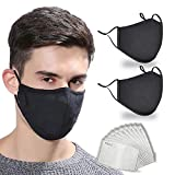 HIVEHYPE Cotton_Face_Mask, Cotton Breathable_Face_Mask with activated 10 PCS Carbon Filter Replaceable Filters, Washable & Reusable Fashion_Face_Mask, UK Seller (Black)