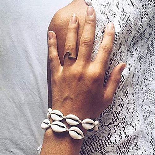 Fllyingu Cadena de conchas hecha a mano, pulsera para tobillo, estilo hawaiano innovador, joya casual, concha natural, tejida a mano, collar con colgante, llavero, cadena