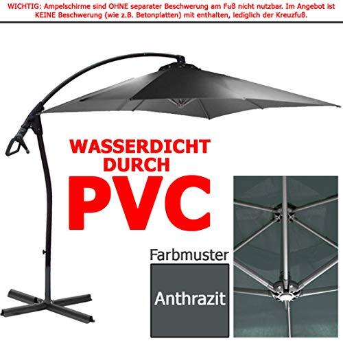 habeig® Ampelschirm 2,5 x 2,5 m quadratisch WASSERDICHT durch PVC Schirm 250x250cm Sonnenschirm (Anthrazit #55)