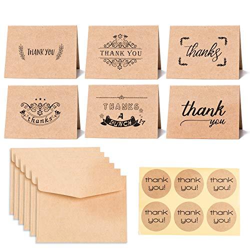Tina Dankeskarten aus Kraftpapier, 6 Designs, 36 Stück