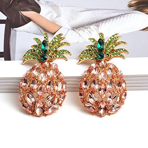DJMJHG Pendientes Colgantes de Diamantes de imitación Coloridos en Forma de piña a la Moda, Accesorios de joyería de Cristales Mujeres,Rosa