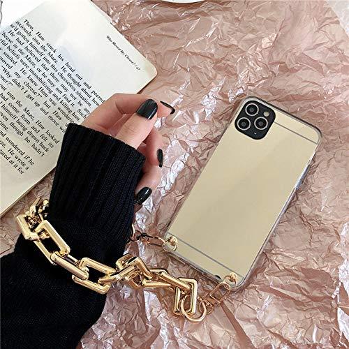 LIUYAWEI Funda de teléfono Suave con Pulsera de Espejo para iPhone 12 Pro MAX 12MiNi 11 Pro MAX X XR XS 7 8 6S Plus SE 2020 Funda Sexy y Fresca, Dorado, para iPhone 6 6S