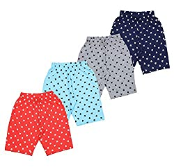 MINNOW Girls Heartin Printed Cotton Shorts (Pack of 4)
