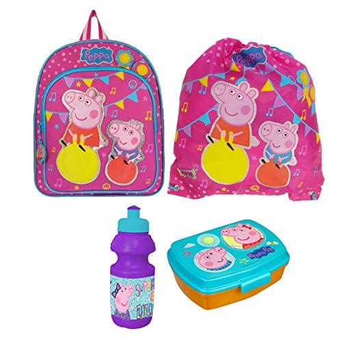 Peppa Pig Wutz Ballons 4 Teile Set Rucksack Tasche Kindergarten mit Sticker von Kids4shop Turnbeutel BROTDOSE TRINKFLASCHE