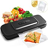 Vacuum Sealer Machine for Food- Automatic Food Sealer for Food Savers w/Starter Kit with 25 Pcs Vacuum Bags ,...