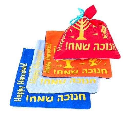 Set of Four Colorful Hanukkah Gelt Bags for Children. Red, Blue, Orange and Light Blue with a Charming Hanukkah Graphic. Great idea for Hanukkah Gifts and Gelt. 8 inch Square with tie