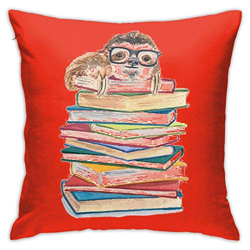Hangdachang Throw Pillow Covers Book Sloth in Glasses Polyester Cushion Square Cases Pillowcases Sofa Home Decor 18 x 18 Inch