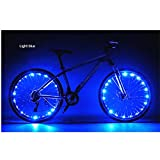 Happy Hours - USB Rechargeable Waterproof Bike LED Light / Bicycle Motorbicycle Lamp Flash Tyre Wheel Light Strip Night Riding Cycling Safety Fun Spoke String - Blue
