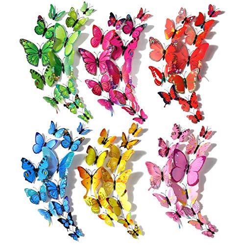 Schmetterlinge Deko, Robuste Kunststoff Schmetterling Dekoration für Wanddekoration, Kinderzimmer, Fenster, Wohnzimmer, Küche (120 Stück in 24 blau, 12 rot, 12 grün, 24 gelb, 24 pink, 24 rot) (Stil 1)