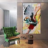 キャンバス絵画カラフルな抽象的な蝶の壁アート画像ブルーグレー水彩ポスタープリントリビングルーム家の装飾50X100cmフレームレス