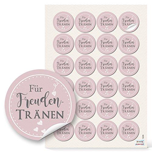 48 Aufkleber selbstklebende Etiketten FÜR FREUNDENTRÄNEN Sticker rosa rosé grau shabby weiß Herzen 4 cm zur Hochzeit – zum Papiertaschentücher Tempo verpacken -Verpackung Papiertüten