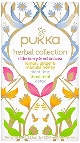 Pukka Herbal Collection, Selection of Five Organic Herbal Teas (4 Pack, 80 Tea bags)