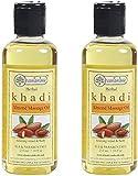 Glamorous Hub Khadi Rishikesh Juego combinado de aceite de masaje de almendras y hierbas, paquete de 2 x 210 ml (420 ml) (el paquete puede variar)