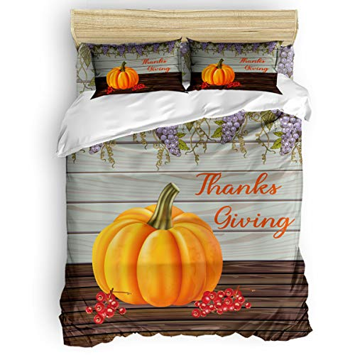 Edwiinsa 4 Piece Bedding Set Twin Size Comforter Cover for Boys, Thanksgiving Pumpkin Grape Cherry Soft Polyester Microfiber - Shrink & Fade Resistant Kid's Duvet Cover Sets, Retro Wood Board