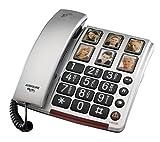 Audioline BigTel 40 Plus, Schnurgebundenes Großtastentelefon mit Bildwahltasten zum besseren Hören und Sehen