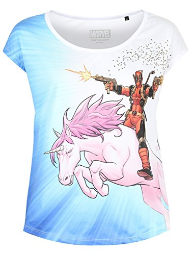 Deadpool Damen T-Shirt Unicorn Ride Loose Fit Marvel Weiß Blau - L